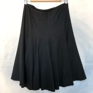 Club Monaco Black Wool A Line Skirt Flared Front